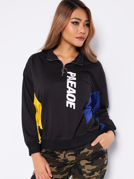 Black Zip Design Letter Long Sleeves Color Block Sweatshirts