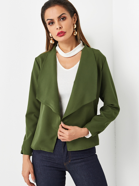 Yoins Green Lapel Collar Blazer