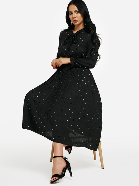 Black Tie-up Neck Polka Dot Maxi Dress