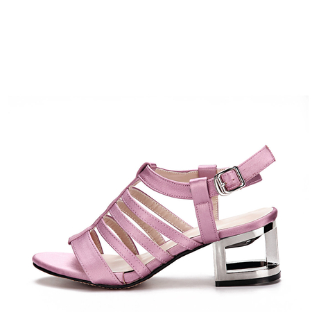 Purple Leather Look Straps Metallic Hollow Heel Gladiator Sandals