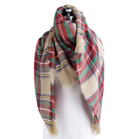 Camel Casual Women Plaid Shawl Tassel Design Scarf