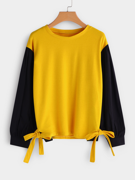 Plus Size Color Block Contrast Self-Tie Sweatshirt