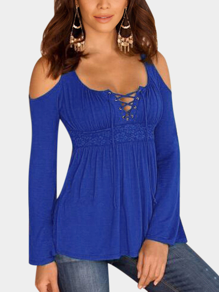 Blue Lace-up Design Plain Cold Shoulder Long Sleeves T-shirts