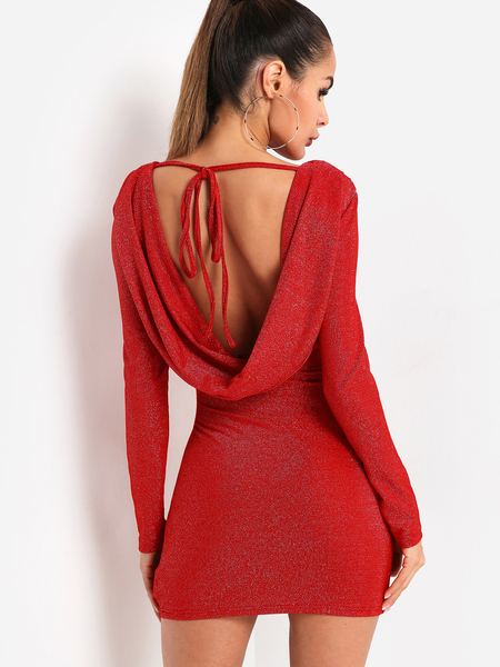 Red Backless Long Sleeves Bodycon Dress
