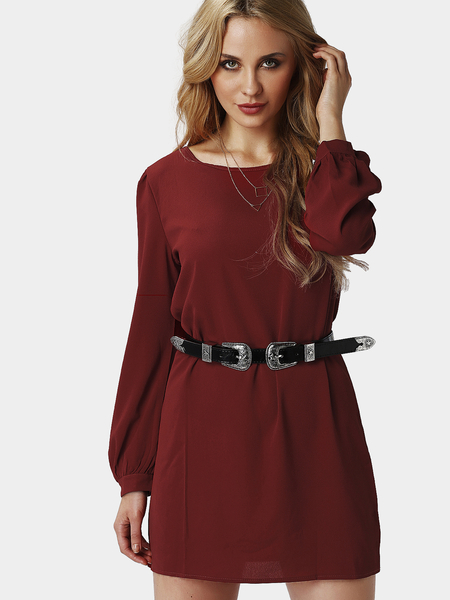 Fashion Plain Burgundy Color Mini Dress with Button Closure