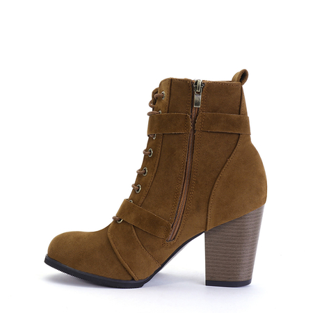 Yoins Camel Side Zip Lace-Up Buckle Boots