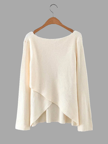 Beige Wrap Front Irregular Hem Long Sleeves Knitwear