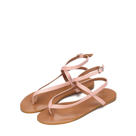 Pink Leather Look Cross Ankle Strap Toe Post Flat Sandals