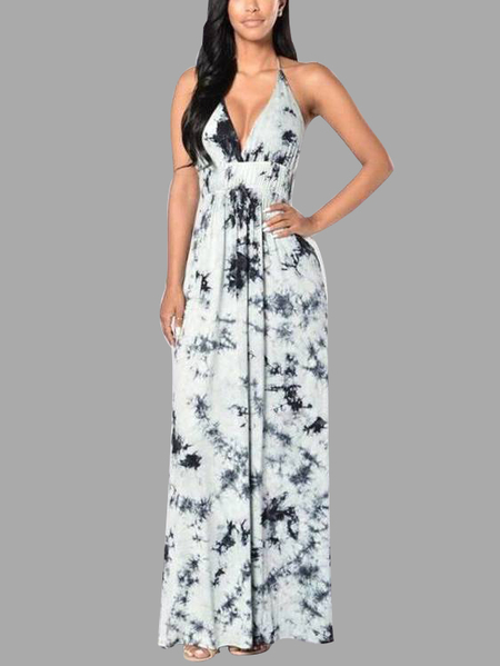 Sexy Black Floral Print Deep V-neck Backless Maxi Dress