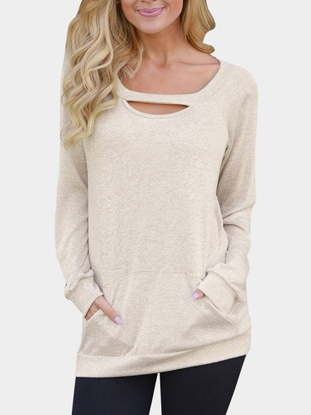 Khaki Cut Out Round Neck Long Sleeves Top