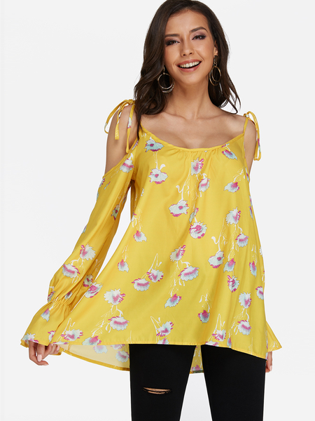 Yellow Cold Shoulder Floral Print Blouse