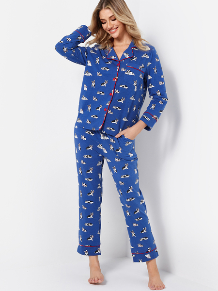 Blue Dog Printed Notch Collar Long Sleeves Pajama Set