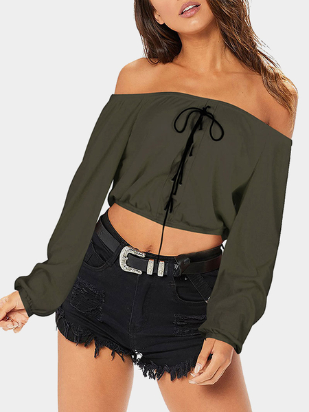 Army Green Criss-cross Off Shoulder Long Sleeves Bodycon Hem Crop Top