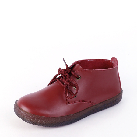 Yoins Red Genuine Leather Lace-up Short Boots