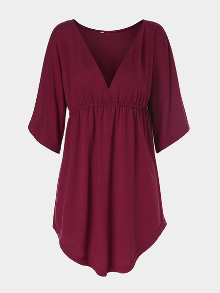 Burgundy V-Neck Bat Sleeves Top