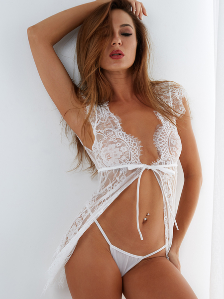 White V-neck Self-tie Delicate Lace Eyelash Trim Pajamas with Thong