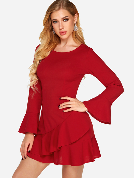 Red Round Neck Bell Sleeves Flounced Hem Dress