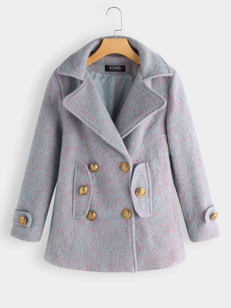 Double-breasted Lapel Collar Longline Wool Coat