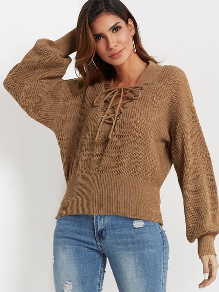 Khaki V-neck Lace-up Front Cable Knit Sweater
