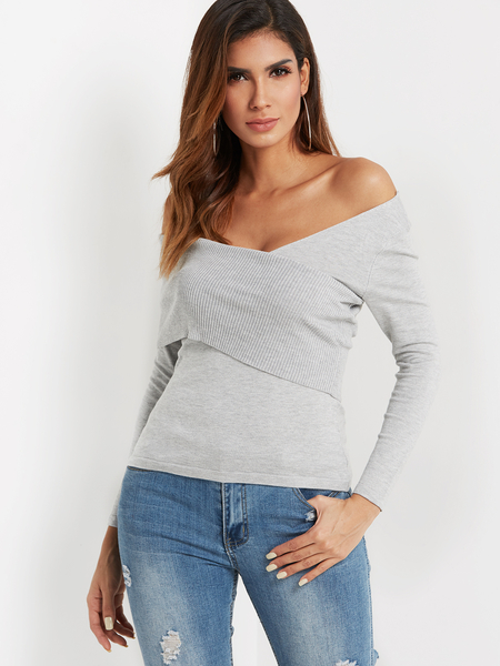 Grey Crossed Front Design Deep V Neck Long Sleeves Knitted Top