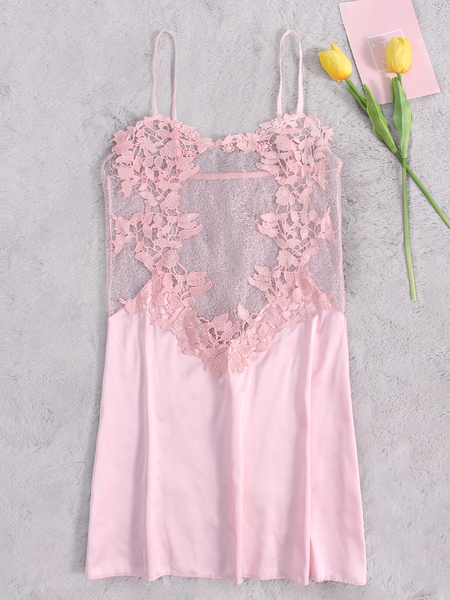Lace Details See-through Pajamas in Pink