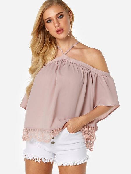 Pink Lace Hem Halter Short Sleeves Blouse