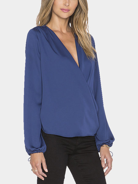 Long Sleeve Wrap Front Chiffon Blouse in Blue