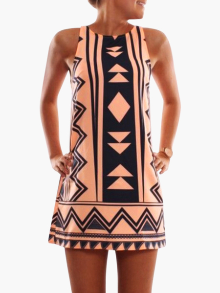 Orange Geometrical Printed Crew Neck Sleeveless Dresss