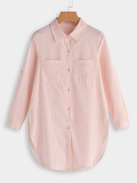 Pink Button & Pocket Front Lapel Collar Long Sleeves Long Blouse