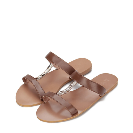Brown Leather Look Embellished Flat Slippers