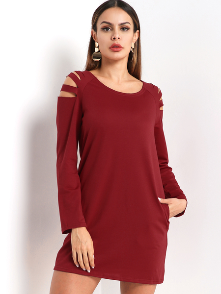Burgundy Cut Out Round Neck Long Sleeves Dress