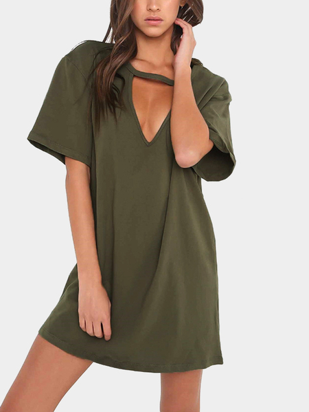 Army Green Cut Out Short Sleeves Loose Fit Dress