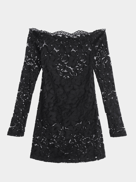 Sexy Black Off Shoulder Long Sleeve Lace T-shirt
