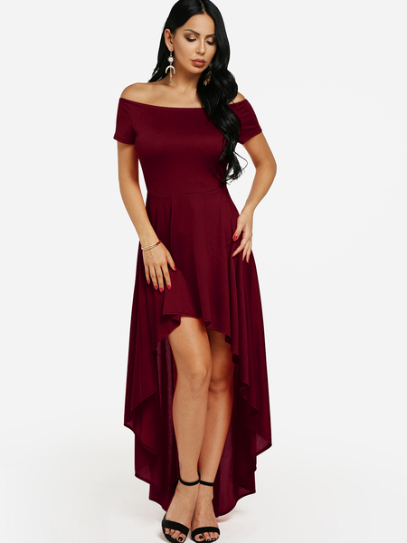 Burgundy Off-The-Shoulder Hi-Lo Flared Dress