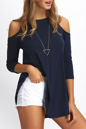 Navy Round Neck Cold Shoulder 3/4 Length Sleeves T-shirt