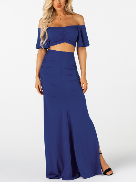 Royal Blue Ruched Bodycon Sexy Two Piece Outfits
