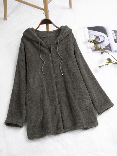 Grey Zip Up Fluffy Faux Fur Hooded Coat