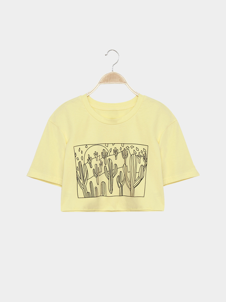 Yellow Fashion Printing Round Neck Crop T-shirt