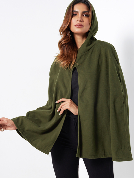 Army Green Hooded Design Open Front Cape