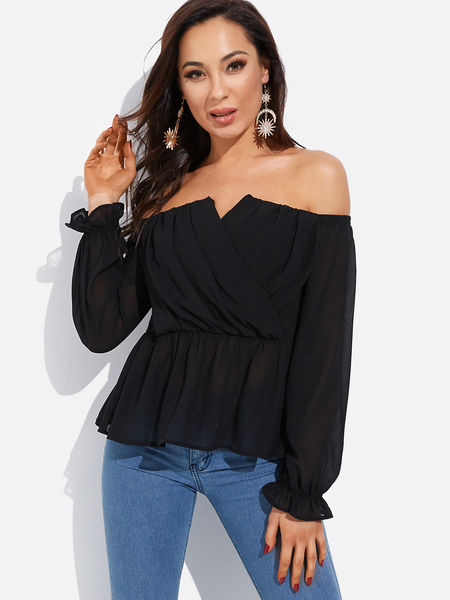 Black Crossed Front Design Strapless Lantern Sleeves Blouses