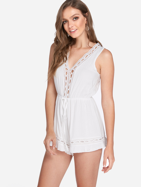 White Hollow Out Design V-neck Stretch Waistband Playsuit
