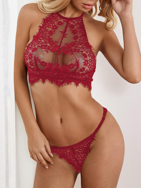 Red See-through Lace Halter Lingerie Set without Stockings
