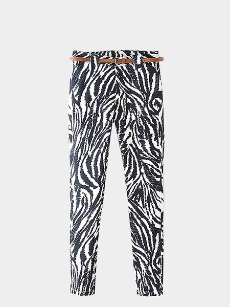 Cropped Zebra Printed Trousers with Belt