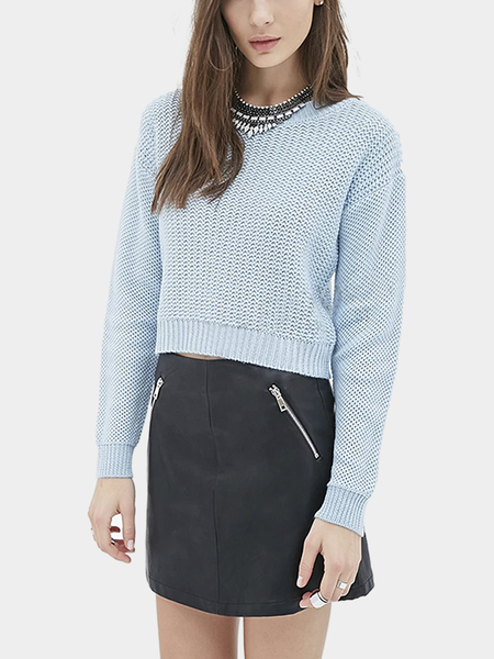 Light Blue Round Collar Dropped Shoulder Knit Sweater