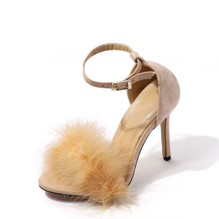 Apricot Faux Fur Ankle Strap High Heeled Sandals