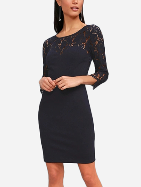 Navy Backless Design Round Neck 3/4 Length Sleeves Lace Dress