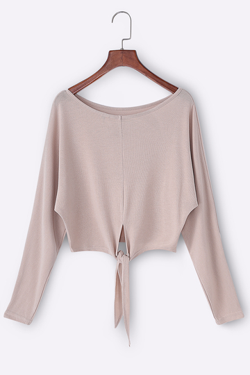 Khaki Bow Tie Scoop Neck Long Sleeves Tee