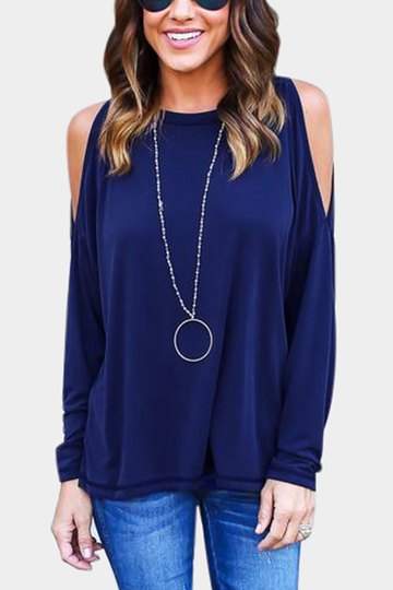 Blue V-neck Long Sleeves T-shirt with Backless Design