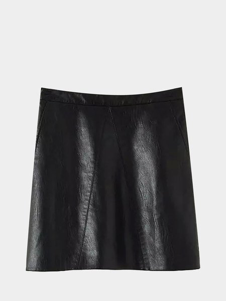 High-rise Waist Leather A-line Skirt in Black
