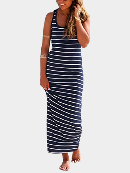 Navy Striped Pattern Scoop Neck Maxi Dress